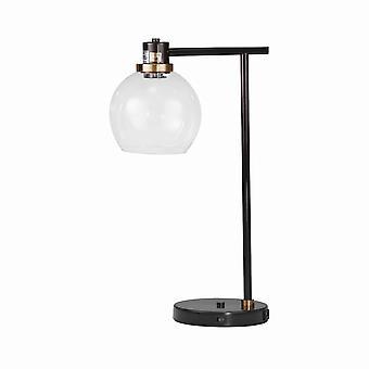 Dome Shade Metal Desk Lamp With 1 Usb Plugin, Dark Bronze