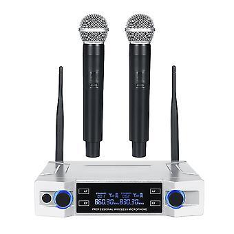 Wireless Microphone System UHF 2 Channel Handheld Mic Kraoke Speech