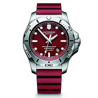 Victorinox Swiss Army 241736 I.n.o.x. Professional Diver Silver & Red Genuine Rubber Men's Watch