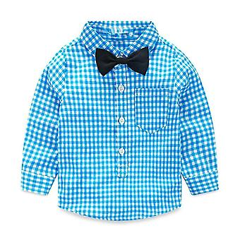 Primavera otoño plaid single breasted - camisa de algodón blusa de corbata