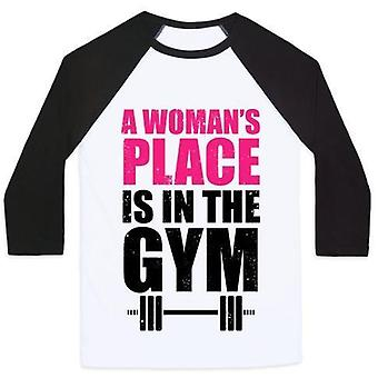 A woman's place is in the gym unisex classic baseball tee