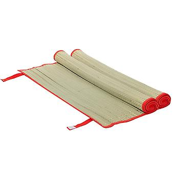 2x Straw Beach Mats Roll Up Camping Hiking Picnic Blanket 60 x 178cm Red