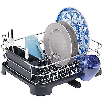 mDesign Dish Drainer with Drip Tray - Metal Dish Rack with Plastic Draining Tray - Cutlery Holder