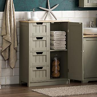 Priano 4 Drawer 1 Door Freestanding Cabinet Unit, Grey