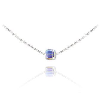 Silver choker with swarovski crystal cube