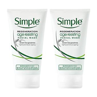 2x of 150ml Simple Regeneration Age Resisting Facial Wash with GreenTea Goodness
