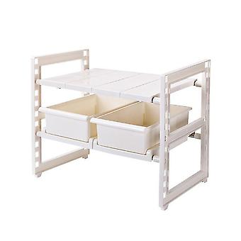 2 Tier under Sink Expandable Shelf Organizer Rack with Drawer for Kitchen Pantry Cabinet