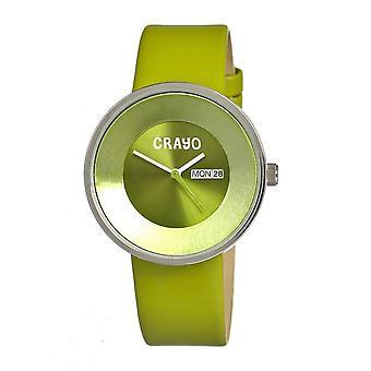 Crayo Button Quartz Green Dial Green Leather Unisex Watch CR0203
