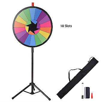"""WinSpin® 24"""" Tripod Editable Color Prize Wheel 18 Slot Spinning Game with Dry Erase for Live Stream Tradeshow Carn"""