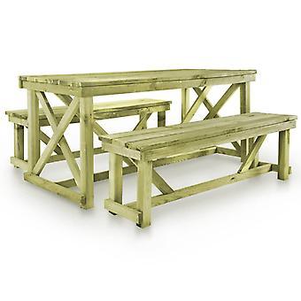 Mesa de cerveza con 2 bancos de madera