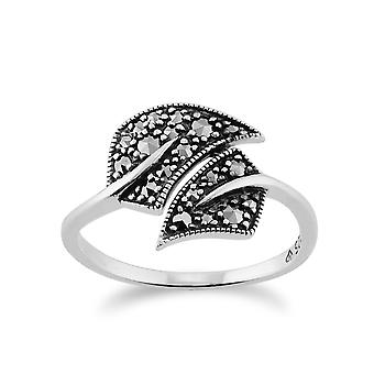 Art Nouveau Style Round Marcasite Leaf Wrap Ring in 925 Sterling Silver 214R503601925
