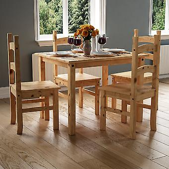 Corona 4 Seater Dining Table 5 Piece Set Mexican Solid Waxed Pine