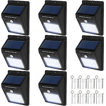 tectake 8 LED Solar vägglampor med rörelsedetektor