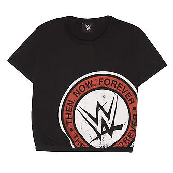WWE Womens/Ladies Then Now Forever Logo Crop T-Shirt