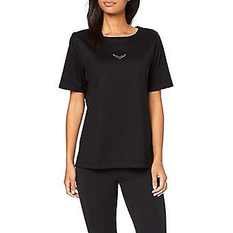 Trigema T-Shirt Deluxe mit Swarovski Kristallen, Svart (Schwarz 008), (Storlekstillverkare: XL) Kvinna
