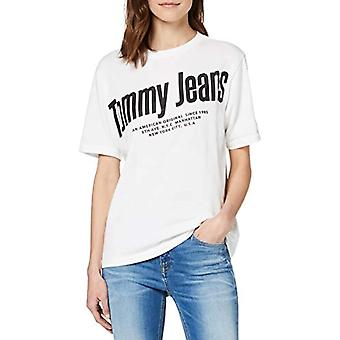 Tommy Jeans Tjw Diagonal Logo Tee T-Shirt, Blanc (White Ybr), 38 (Taille Unique: X-Small) Femme