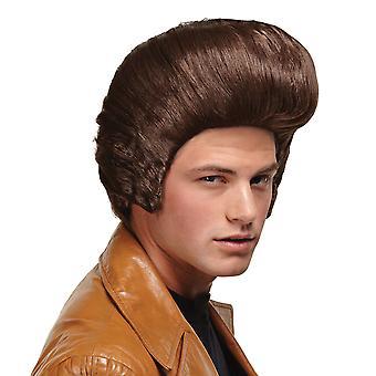 Dollar Daddy Pimp Pompadour Elvis Grease Gangster 50s Brown Mens Costume Wig