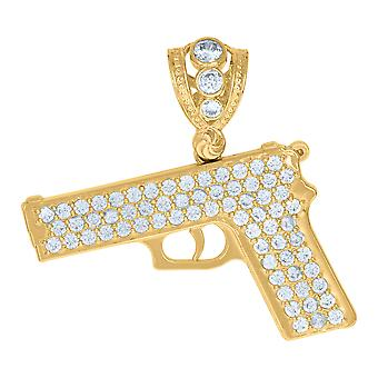 10k Yellow Gold Mens Cubic zirconia Gun Charm Pendant Necklace Jewelry Gifts for Men - 6.3 Grams