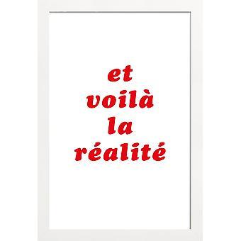 JUNIQE Print - Realite Nr 3 - Cytaty & Slogany Plakat w kolorze Czerwonym & Białym