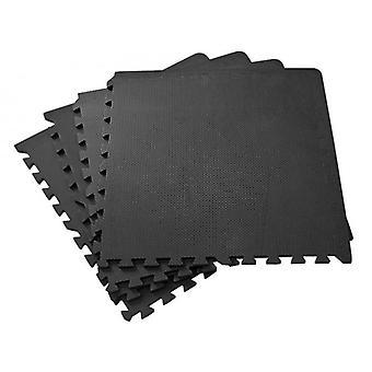 Bodenmatte Puzzle Schaumstoff Fliese – 60 x 60 – 6er Set – Schwarz