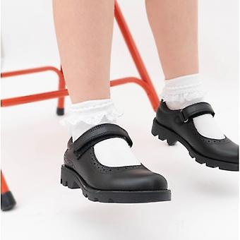 Roamers Sabina niñas cuero touch Fasten Mary Jane zapatos negro