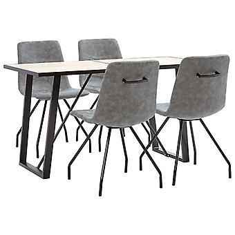 vidaXL 5 pcs. Dining group dark grey imitation leather