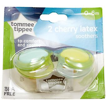 Tommee Tippee 2 Baby Soothers 0-6m 2 Cherry Latex Designs - Green