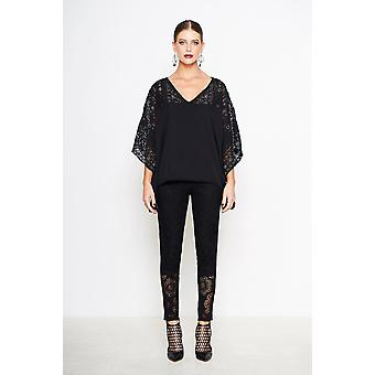 Embroidered and Beaded Lace Sleeve Top
