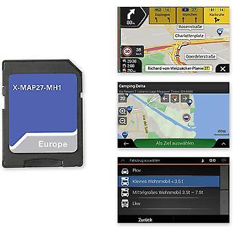 X-MAP27-MH1: Micro SD-Karte mit Reisemobil Navigation für Infotainer X-F270, Karten für Europa,