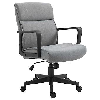 Vinsetto Mid Back Office Chair Height Adjustable Linen Fabric Task Chair with Ergonomic Line Wide Seat, Thick Padding, and 360° Swivel Wheels