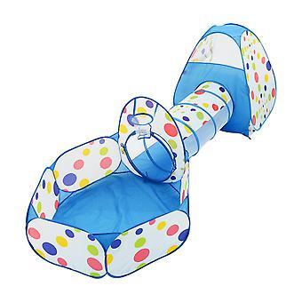 (Blauw) 3-in-1 pop-up speeltent voor kinderen met tunnel en De Kuil van de bal