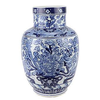 Vase chinois asiatique fin Bleu Blanc Porcelaine D28xH42cm