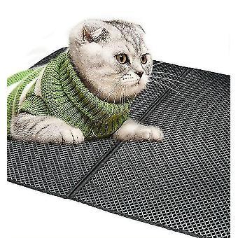 Katzentoilettenmatten schwarz wiederverwendbare Doppelschicht Katzenstreumatte