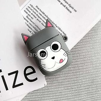 Leuke cartoon 3d siliconen oortelefoon hoesjes voor airpods 1 2 (Grey Cat)