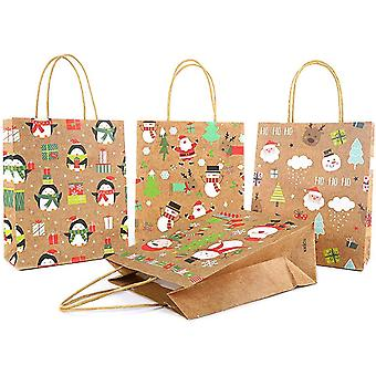 4 Designs Christmas Bag Wrapping Bags Kraft Paper Bag With Handles 8 Pcs 2 Sizes