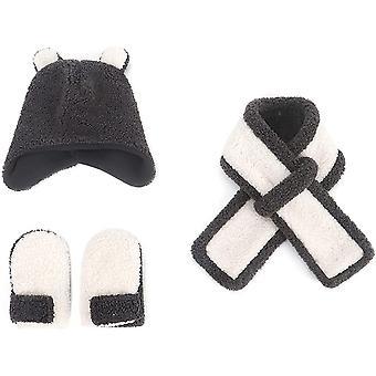 Winter KinderBlase Hut Baby Mädchen Schal Handschuh Mütze Set Kinder Strickmütze Set Dicken Warm Süßes Ohr Pom