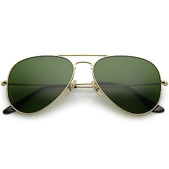 Premium Small Classic Matte Metal Aviator Sunglasses With Green Tinted Glass Lens 57mm