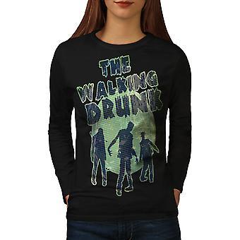 Walking Drunk Party Women BlackLong Sleeve T-shirt | Wellcoda