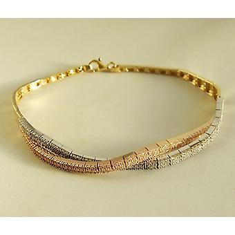 14 k gelb, weiß und rosa gold Armband mit Zirkonia