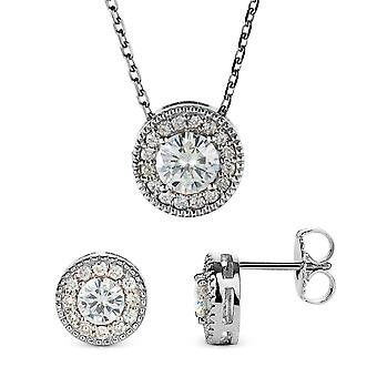 Forever Classic Round Cut Halo Moissanite Earrings and Pendant Necklace Set