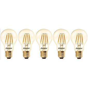 5 X Energizer GLS Globe Antique Gold Finish LED Filament Energy Saving Light Bulb E27 ES Edison Screw Fitting [Energy Class A+]