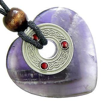 Keltische Triquetra knoop bescherming Amulet Amethist edelsteen hart hanger ketting