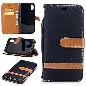 Étui pour Apple iPhone X jeans couverture portable protection couvercle boîtier noir
