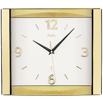 AMS 5613 wall clock radio radiostyret væg ur analog golden med glas
