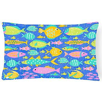 Little Colorful Fishes Canvas Fabric Decorative Pillow