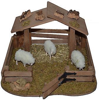 Krippenzubehör Krippenstall Krippenset Schafgehege Tiergehege mit 3 Schafen 1 Hase Unterstand