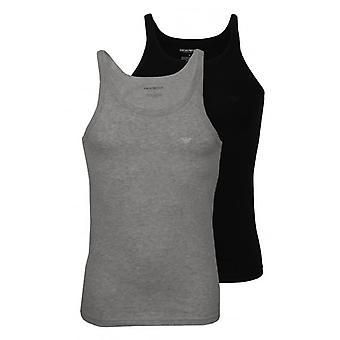 Emporio Armani 2-Pack Pure Cotton Tank Top Vests, Black/Grey