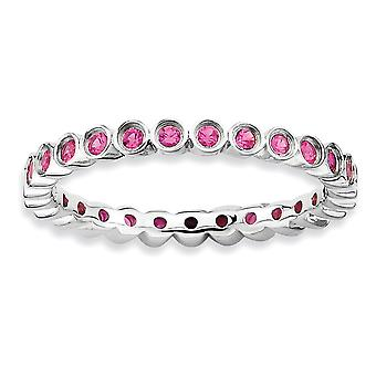 925 Sterling Silver Bezel Polished Patterned Rhodium plated Stackable Expressions Created Ruby Ring Jewelry Gifts for Wo