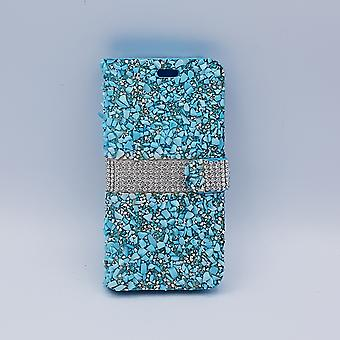 For Samsung S8 Plus bling-glitter book case-blue with silver
