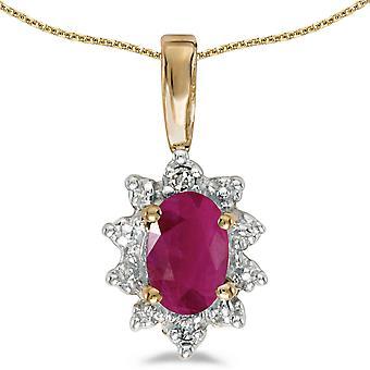 LXR 10k oro amarillo oval rubí y colgante de diamantes 0.36 ct